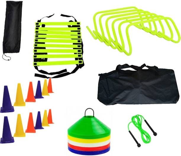 L'AVENIR Sports & Fitness 4mtr Speed Ladder + 12pcs. Cone Marker (6inches) + 50 Space Marker + 6 Hurdles + Jump Rope + 1 Carry Bag Gym & Fitness Kit