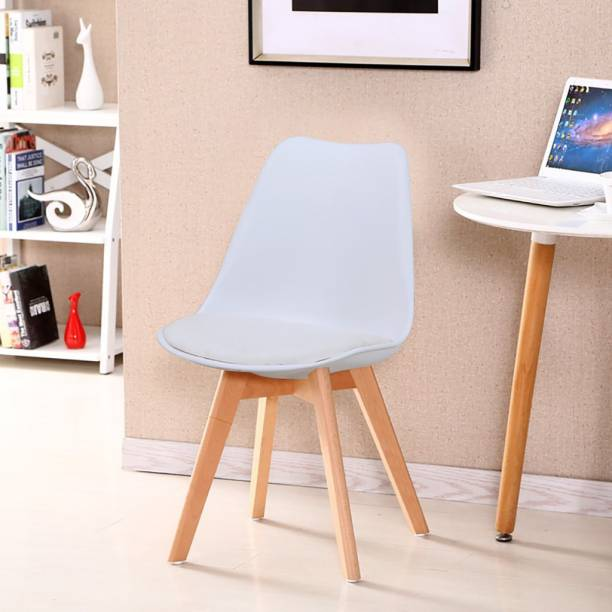 Finch Fox Eames Replica Plastic Padded Solid Wood Legs Seat Dining Chair (White) Plastic Living Room Chair