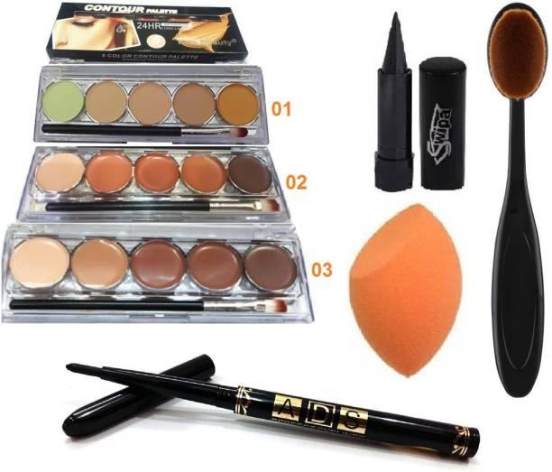 SWIPA Kajal+3 Shade Counter Platte+Puff+ Brush+Black Eyeliner Pencil