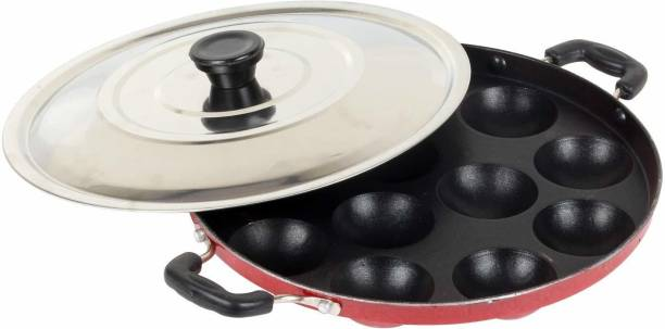 Coozico Non Stick Grill Design 12 Cavity Appam Patra/Appam Maker With Lid, Hammer Tone Coating Paniyarakkal with Lid Paniyarakkal with Lid (Aluminium, Non-stick) Cookware Set