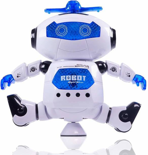 RISING BABY Dancing Robot with Music, 3D Flashing Lights, Dancing Naughty Robot for Kids, Battery Operated,360 Degree Rotation