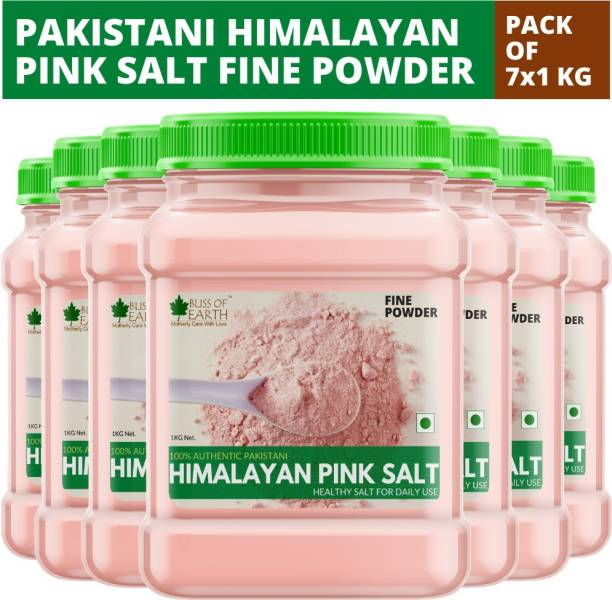 Bliss of Earth 7x1KG Authentic Pakistani Fine Powdered Himalayan Pink Salt for Healthy Cooking Himalayan Pink Salt