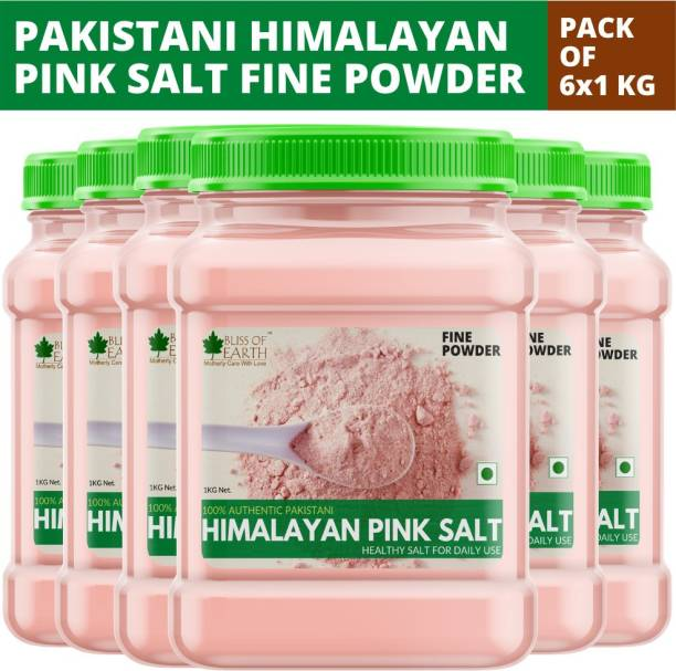 Bliss of Earth 6x1KG Authentic Pakistani Fine Powdered Himalayan Pink Salt for Healthy Cooking Himalayan Pink Salt