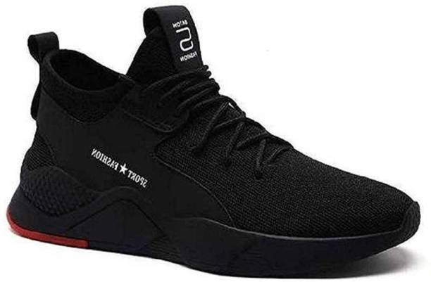 JK PORT Fashionable Mens Black Sports Shoes For Running, Gyming, Walking, Cycling, Jogging, Bowling, Cricket, Dancing And outdoor Casual Shoes. Running Shoes For Men