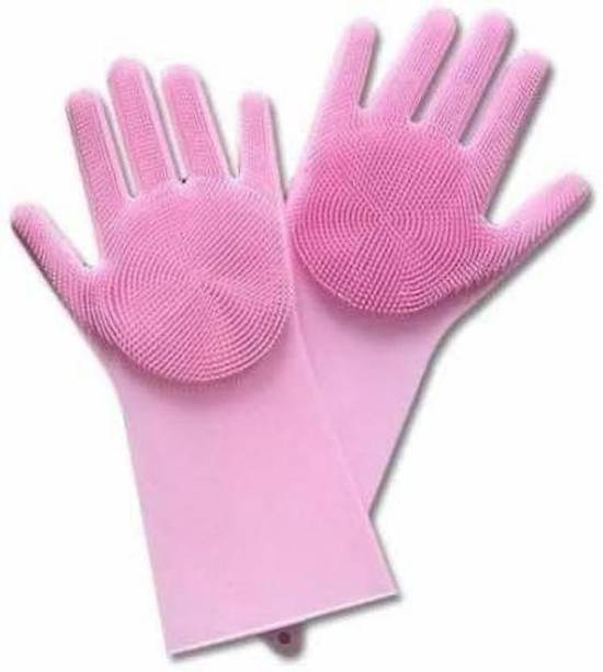 Shuaitech Dishwashing and Pet Grooming, Magic Latex Scrubbing Gloves for Household Cleaning Great for Protecting Hands Wet and Dry Glove