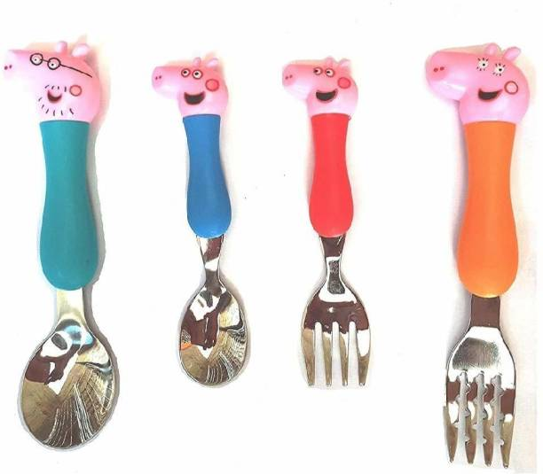Quinergys ®Pig Cartoon Theme Stainless Steel Spoon & Fork Set for Kids - Baby Feed Spoon and Fork Set Steel Cutlery Set