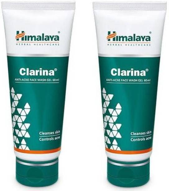HIMALAYA pack of 2 Clarina ANTI-ACNE FACE WASH GEL Cleanses skin, controls acne face wash 60 ml Face Wash