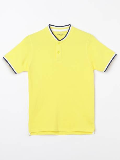 FAME FOREVER Boys Solid Pure Cotton T Shirt