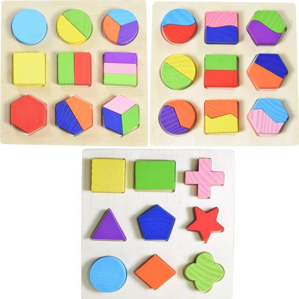Wishkey Wooden Colorful Math Shapes Geometry Puzzles Early Educational Brain Teaser Toys (Set of 3 Boards)