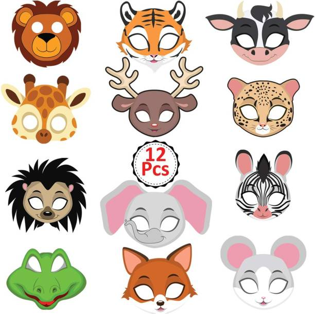 Party Propz Animal Eye mask -12 Pieces for Jungle Birthday Theme Decoration Party Mask