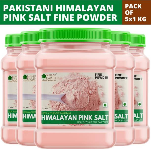 Bliss of Earth 5x1KG Authentic Fine Powdered Himalayan Pink Salt for Healthy Cooking Himalayan Pink Salt