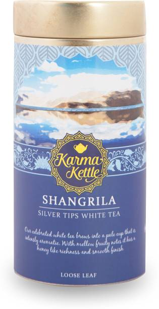 Karma Kettle Shangrila Silver Needles White Tea Darjeeling Silver Needles 25gm loose leaf Tin Mixed Fruit White Tea Tin