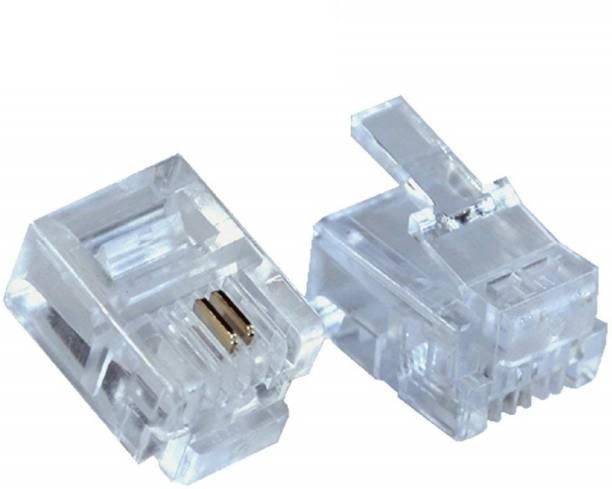 RIVER FOX RJ11 Connector Transparent Clear Male Plug 6P2C (50 Pcs Pack) Network Interface Card