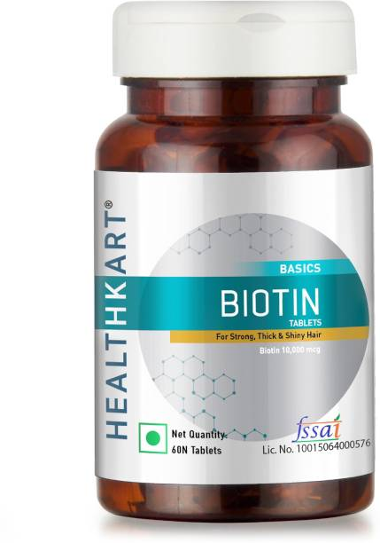 HEALTHKART Biotin Maximum Strength for Hair Skin & Nails-10000 mcg for, 60 tablet(s)
