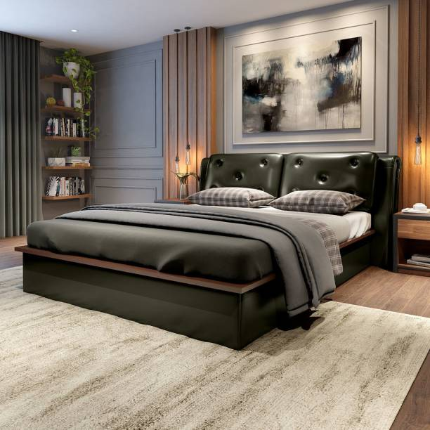 Durian Cambert Green Solid Wood Queen Hydraulic Bed