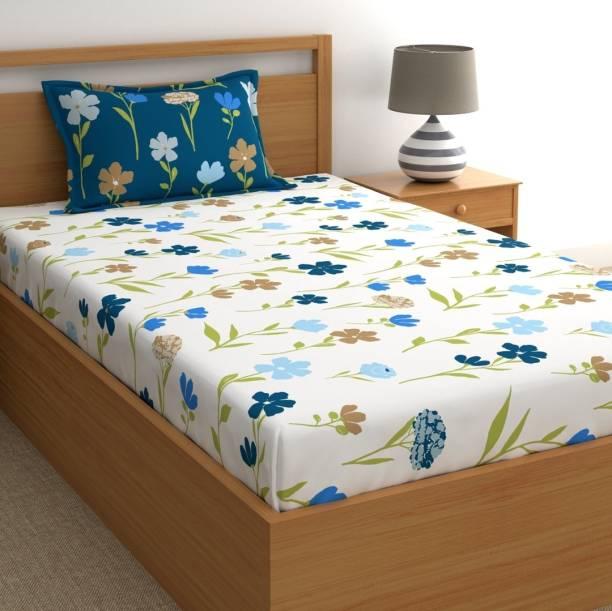 Dreamscape 180 TC Cotton Single Floral Bedsheet