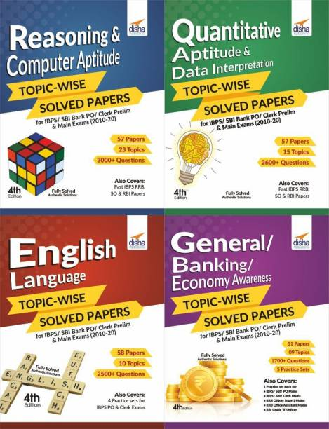 Reasoning/ Quantitative Aptitude/ English/ General Awareness Topic-Wise Solved Papers for Ibps/ Sbi Bank Po/ Clerk Prelim & Main Exams (2010-20) Combo