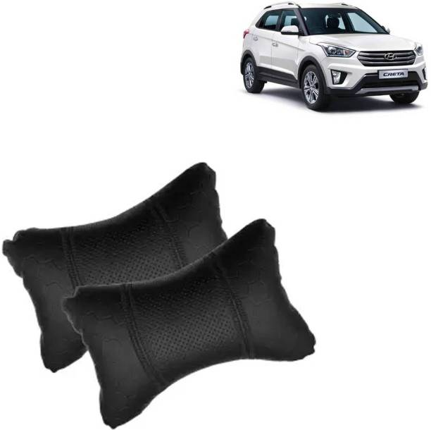 aksmit Black Leatherite Car Pillow Cushion for Hyundai