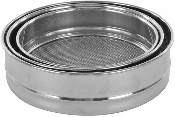 batwada export Stainless Steel Atta Chalni/Channi/Flour Sieve Set of 3 (Large,Medium,Small) Sieve
