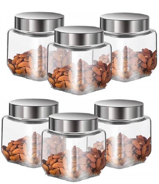 HKC HOUSE Kitchen Storage Square Shape Cube Glass Jar Set of 2 (500Ml)  - 500 ml Glass Tea Coffee & Sugar Container