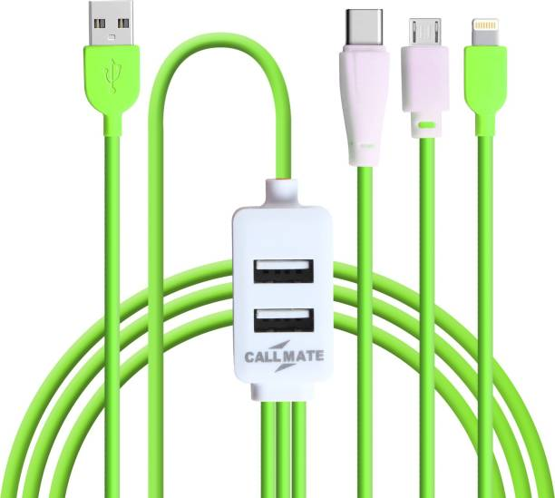 Callmate SZNO5 All in one Data and Charging Cable With Dual USB Port ( Type-C , Micro , Lightning ) 1 m Lightning Cable
