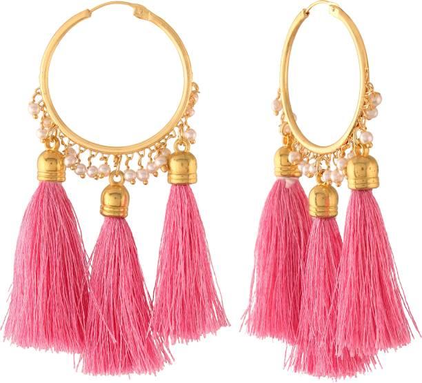 I Jewels Gold Plated Silk Thread Tassel Hoop Earring of Women Pearl Alloy Drops & Danglers