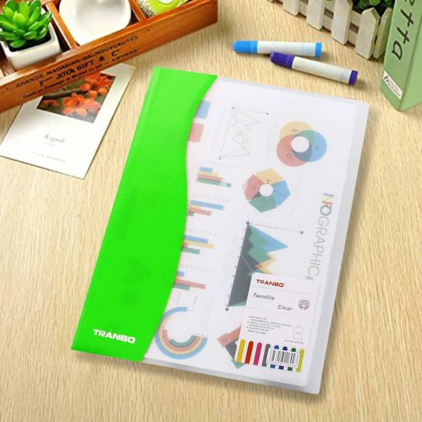 TRANBO Plastic Clear File Transparent File Folder for Document, A4 Size, Green - Pack of 1