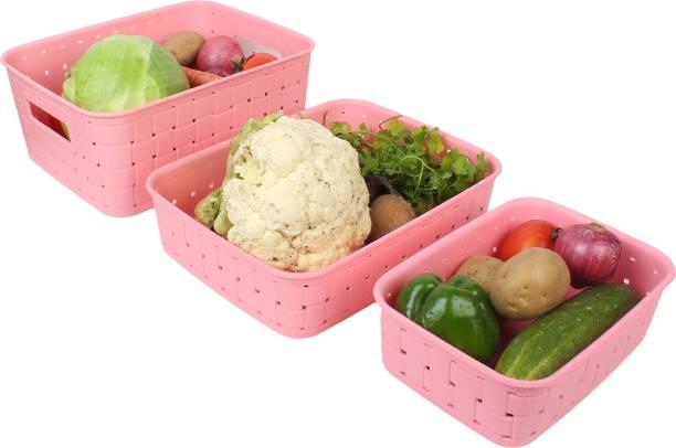 Bluewhale New Fruit & Vegetables Kitchen Basket Set Of 3 (Pink) Plastic Fruit & Vegetable Basket
