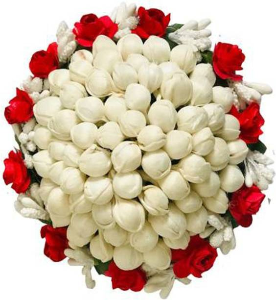 Maahal Flower Full Juda Bun Hair Flower Gajra for Wedding and Parties Use for Women in Red & White Color Pack of 1 Hair Accessory Set (Multicolor) Bun