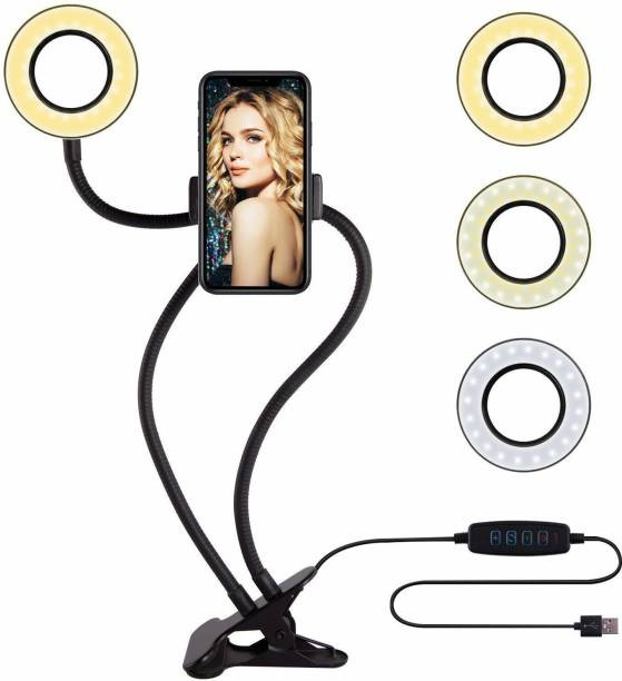 keeva 4 inches Professional Selfie Ring Light and Cell Phone & Webcam Holder Stand for Live Stream, Makeup TIK Tok, Vigo, YouTube and Video Recording. Ring Flash