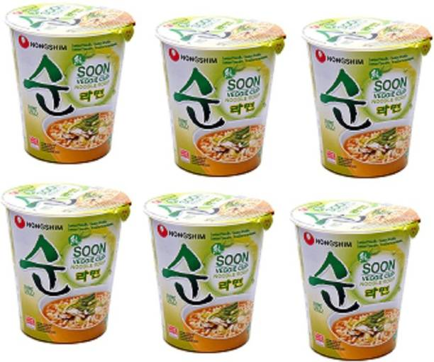 Nongshim Soon Veggie Noodle Soup Cup, 67 g Pack of 6 Cup Noodles Vegetarian