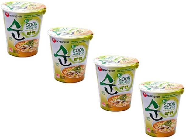 Nongshim Soon Veggie Noodle Soup Cup, 67 g Pack of 4 Cup Noodles Vegetarian
