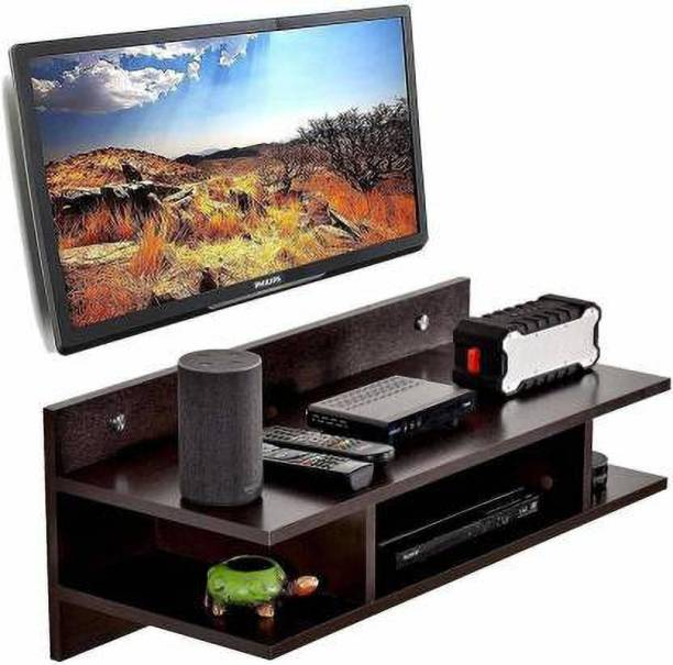ANTIOUE MART TV Setup Box & Remote Stand Wooden Wall Shelf Wooden Wall Shelf