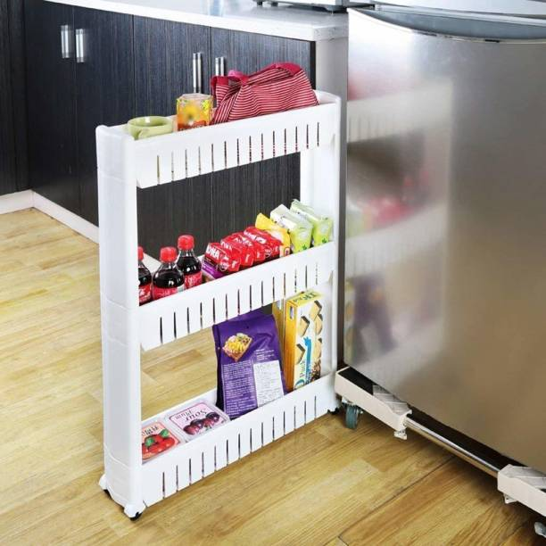 Shopixo 3 Layer Unit Slim Slide-Out Storage Tower Pull Out Pantry Plastic Rack Shelves Cart for Kitchen Bathroom Bedroom Laundry Room Narrow Places on Wheels White Plastic Kitchen Trolley Plastic Kitchen Trolley