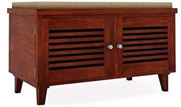 CORAZZIN Wooden Furniture Mahogany Finish Shoe Rack | Shoes Cabinets Solid Wood Shoe Rack