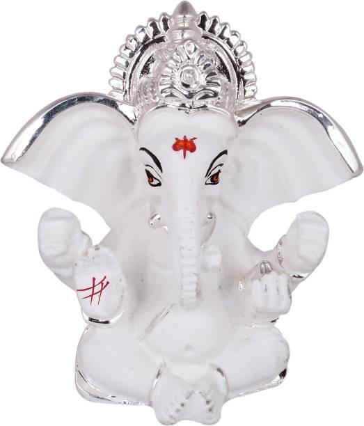 Natali Traders Ganesh Idol for Card Dashboard - Silver Plated Idol Ganesh-Cute Little Ganesha-Ganesh Ji Murti-Ganesh Idol Showpiece Decorative Showpiece  -  7 cm