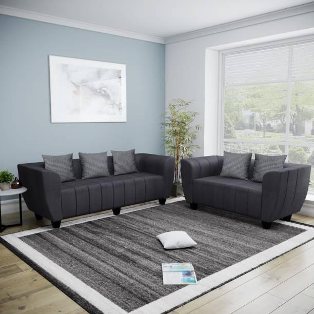 Bharat Lifestyle Elegant Fabric 3 + 2 Dark Grey Sofa Set