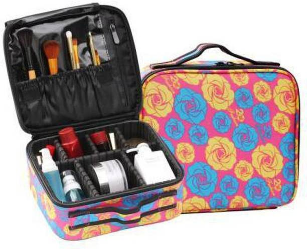 HOUSE OF QUIRK Makeup Cosmetic Storage Case with Adjustable Compartment - Pink/Blue/Yellow Flower Makeup Vanity Box