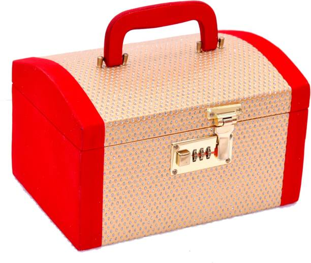 RK Brands Handcrafted Golden, Diamond with Red Velvet Travel With Number Lock Antique Palki Makeup, Bangle Box Vanity Box