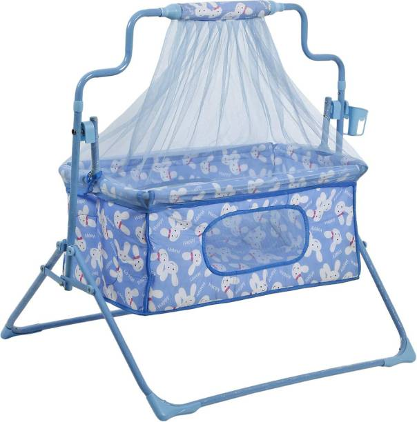 Miss & Chief Cozy New Born Baby Cradle, Baby Swing, Baby jhula, Baby palna, Baby Bedding, Baby Bed, Crib, Bassinet, Pillow, Mosquito Net, Bottle Holder for 0-9 Months