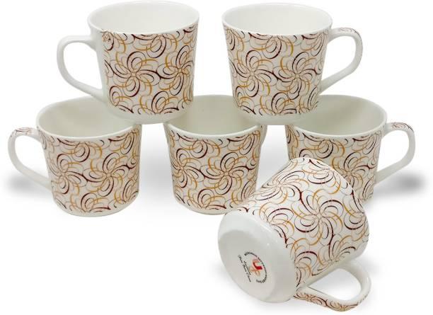 U.P.C. Pack of 6 Bone China Coffee Mugs (150 ML) Fine Bone China Ceramics tableware/ Kitchenware White Tea-Cups Set Of 6