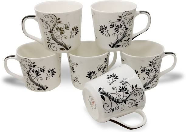 U.P.C. Pack of 6 Bone China Coffee Mugs black decal Fine Bone China Ceramics tableware (150 ML), Light, Cup Set Black & White