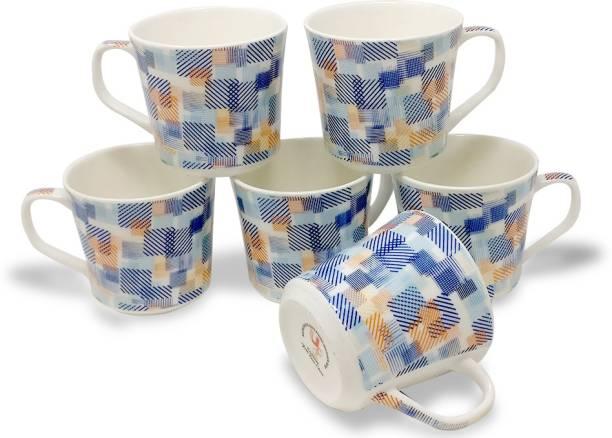 U.P.C. Pack of 6 Bone China Coffee Mugs Fine Bone Set Of 6 China Ceramics tableware (150 ML) Light-Weight, Multicolor Cup Set for Tea