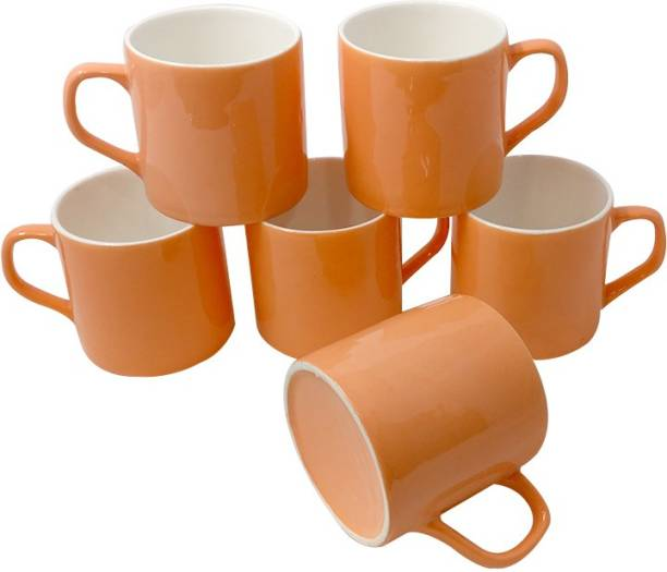 U.P.C. Pack of 6 Bone China U.P.C. Coffee Mugs Fine Bone China Ceramics tableware, Light,Latest Design Set of 6 Tea Cups (Orange, White) Pack Of 6