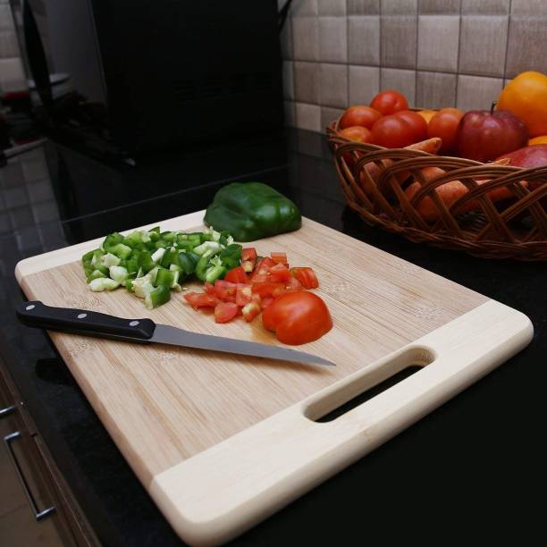 MobFest Bamboo/Wooden Kitchen Chopping Cutting Board with Handle Cutlery Accessories Wooden Cutting Board