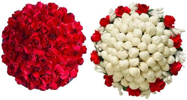 AROOMAN Artificial flower Bun Juda Maker Flower Gajra Hair Accessories For Women and Girls Multi Color (Pack-02) Bun