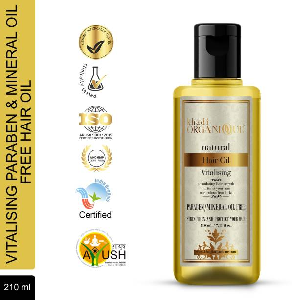 khadi ORGANIQUE Vitalising Hair oil (Without Mineral Oil) Make this dream come true with the wonder Vitalizing Hair Oil that supplies proper nutrients to the hair and strengthens it naturally. Hair Oil