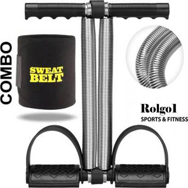 Rolgo1 COMBO 1 BLACK DOUBLE SPRING TUMMY TRIMMER & 1 SWEAT BELT Gym & Fitness Kit