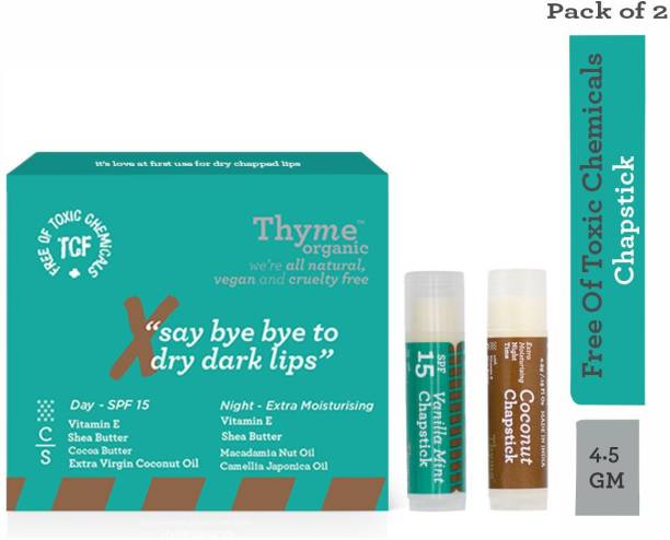 Thyme Organic Lip Chapstick/ Lip Balm - Vanilla Mint Flavour with SPF 15 & Coconut Flavour with Extra Moisturising- 100% Toxic Chemical Free/Natural/Organic/Vegan & Cruelty Free- (Pack of 2x4.5 gms) Vanilla Mint, Coconut (Pack of: 2, 4.5 g) Vanilla Mint, Cocunut