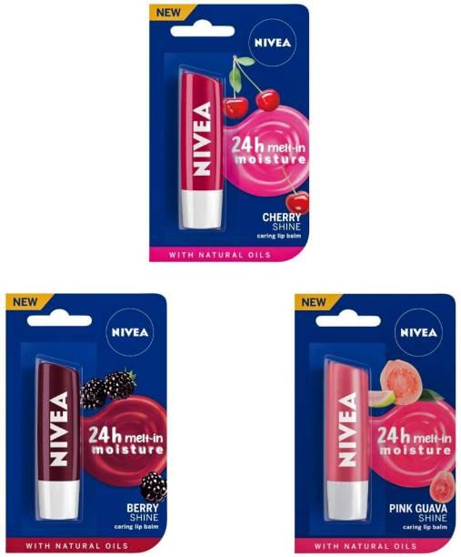 NIVEA Shine Caring Lip Balm #15 Cherry Shine, Pink Guava Shine, Berry Shine